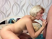 Attractive blonde oral and fuck with lover taking cum in mouth