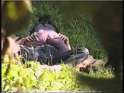 Voyeur camera secret porn recording couple cowgirl sex on public land