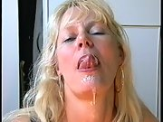 Blonde gets a mouth full cum loving every drop
