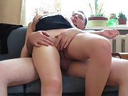 Homemade sex tape giving wife an orgasm on the couch