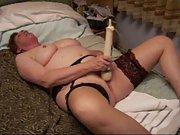 Longer version of chubby mature masturbating on bed