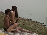 Voyeur amateur public sex hot brunette girl fucking lover by river