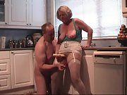 Eating out my wife pussy in the kitchen warming her up for some probing with toys