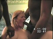 Cuckold wife VHS porn tape with two black men husband directs
