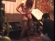 Filming a woman masturbating with her sex toy with a friend