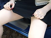 A nice upskirt video in public pulling up skirt getting out of car