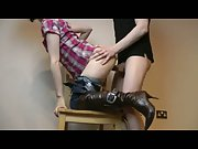 Brunette fucked doggy on a chair pumped full of cum leaving cream pie