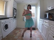 Wife in Miniskirt and heels dances and stripteases